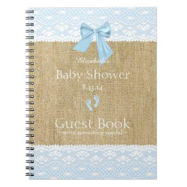 Burlap Lace Image Blue Bow Baby Shower Guest Book- Notebook