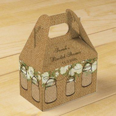 burlap roses mason jar  favor box
