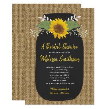 Burlap Sunflower Chalk Mason Jar
