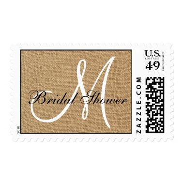 Burlap Wedding Monogram  Postage