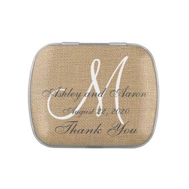 Burlap Wedding Monogram Names Date Jelly Belly Tin