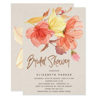 Burnt orange fall watercolor floral bridal shower Invitations