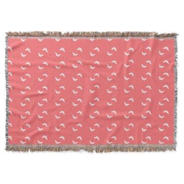 Butterflies-In-Flight Coral Boho Pattern Throw