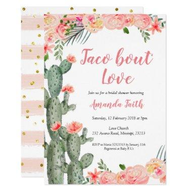 Cactus Floral Taco bout Love Bridal Shower Invitations