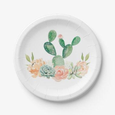 Cactus Succulent Paper Plate Baby shower or Bridal