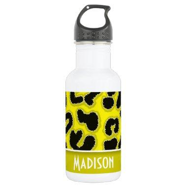 Cadmium Yellow Leopard Animal Print; Personalized Stainless Steel Water Bottle