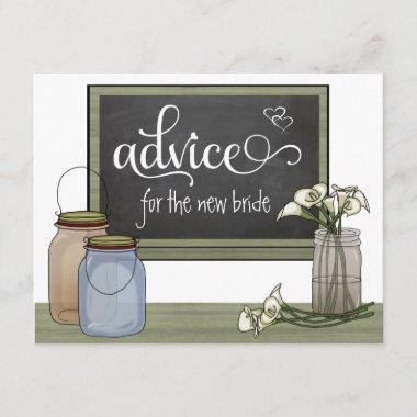 Calla Lily Chalkboard And Mason Jar Advice Cards