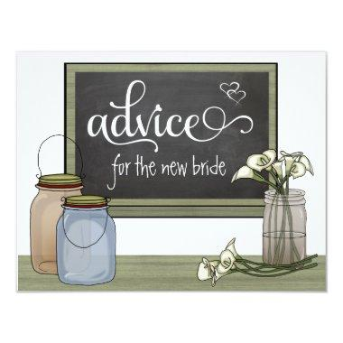 Calla Lily Chalkboard And Mason Jar Advice Cards