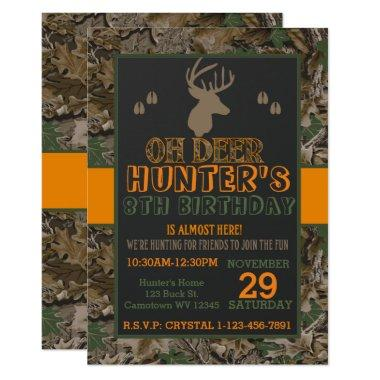Camouflage Buck Deer Birthday Party Invitations