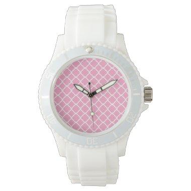 Carnation Pink Quatrefoil Watch