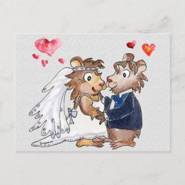 Cartoon Wedding Couple Save the Date Post