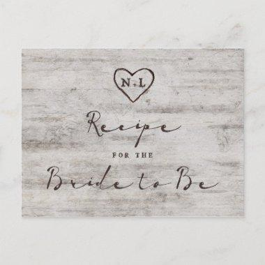 Carved Sweethearts Rustic Bride to Be Recipe Invitations