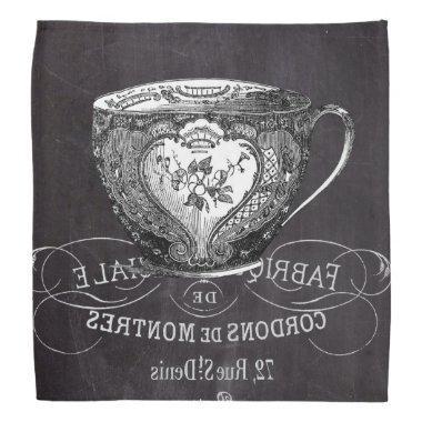 Chalkboard Alice in Wonderland tea party teacup Bandana