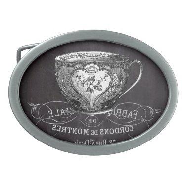 Chalkboard Alice in Wonderland tea party teacup Belt Buckle