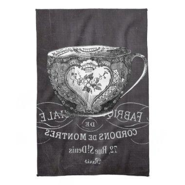 Chalkboard Alice in Wonderland tea party teacup Hand Towel