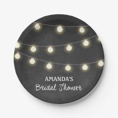 Chalkboard and Lights  Party Plates