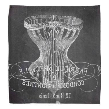 chalkboard art french scripts vintage corset bandana