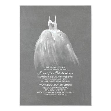 Chalkboard Bridal Shower Elegant Vintage Gown Invitations