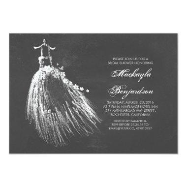 Chalkboard Bridal Shower with Wedding Gown Invitations