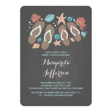 Chalkboard flip flops beach bridal shower invite