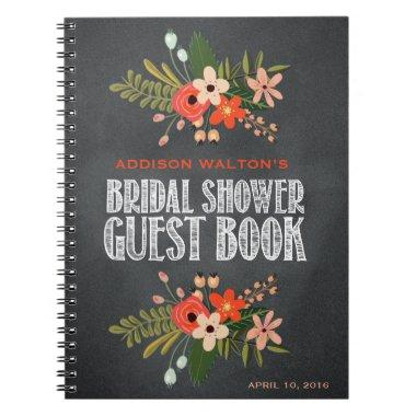Chalkboard Floral  Guest Book