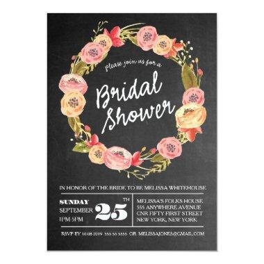 Chalkboard Floral Wreath  Invite