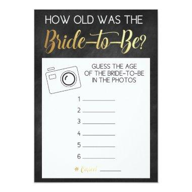 Chalkboard Game- Guess Bride's Age from Photos