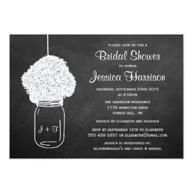 Chalkboard Hydrangea Mason Jar Bridal Shower Invitations