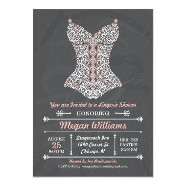 Chalkboard Lingerie Party Invitations