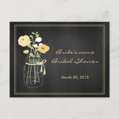 Chalkboard Mason Jar Bridal Shower Advice Cards