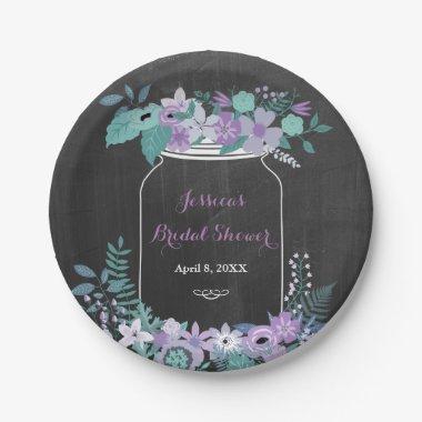Chalkboard Mason Jar Purple Floral  Paper Plate