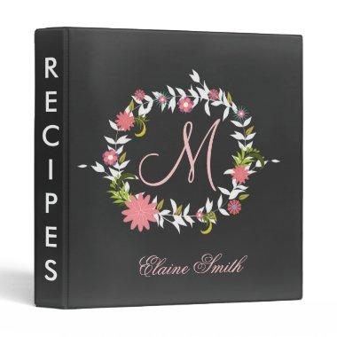 Chalkboard Monogram  Recipe Folder