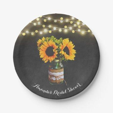 Chalkboard Sunflower Mason Jar  Paper Plate