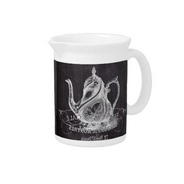 Chalkboard teapot Alice in Wonderland tea party Pitcher