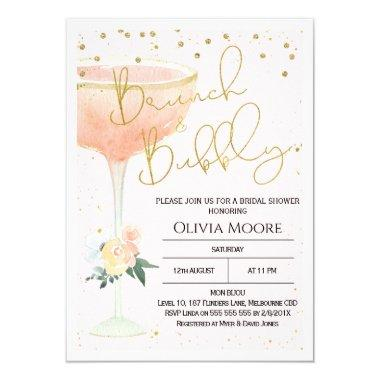 Champagne Brunch Bubbly Bridal Shower Invitations