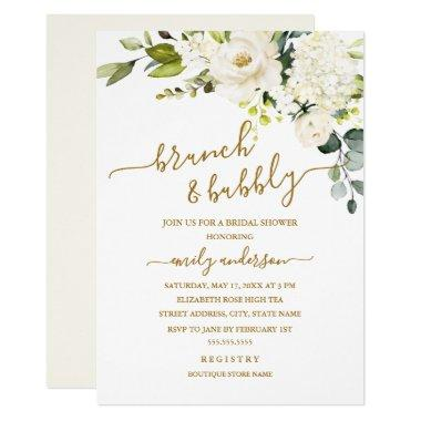 Champagne Floral Brunch And Bubbly Bridal Shower Invitations