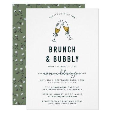 Champagne Flutes Brunch and Bubbly Bridal Shower Invitations