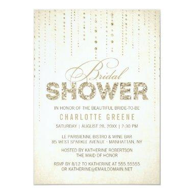 Champagne Gold Glitter Look Bridal Shower Invitations
