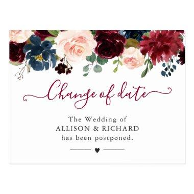 Change of Date Burgundy Blush Navy Floral New Plan PostInvitations