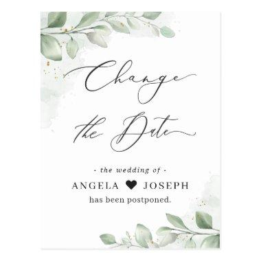 Change of Date Plan Eucalyptus Greenery Succulent PostInvitations