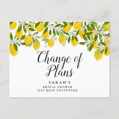 Change of Plans Postponed Lemons Bridal Shower Announcement PostInvitations