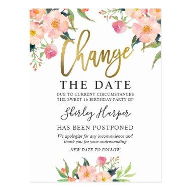 Change The Date Pink Floral Gold Script PostInvitations