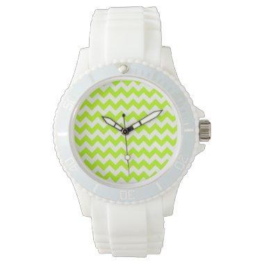 Chartreuse Chevron; zig zag Wristwatch