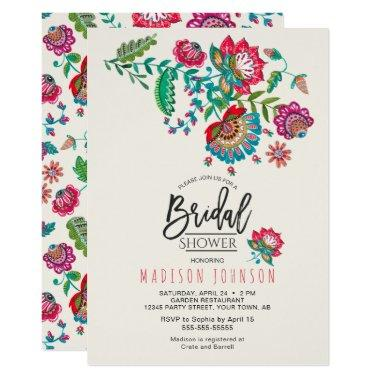 Cheerful Mexican Red & Turquoise Folk art Floral Invitations
