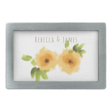 CHEERFUL YELLOW ORANGE WATERCOLOUR FLOWER MONOGRAM BELT BUCKLE