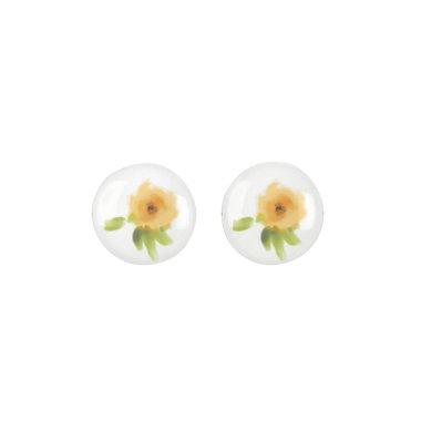 CHEERFUL YELLOW ORANGE WATERCOLOUR FLOWER MONOGRAM EARRINGS
