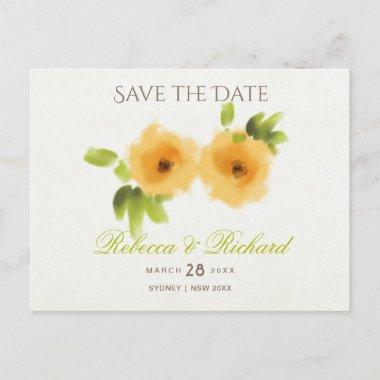CHEERFUL YELLOW ORANGE WATERCOLOUR Save the date Announcement Post