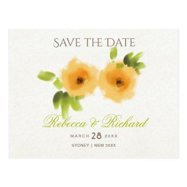 CHEERFUL YELLOW ORANGE WATERCOLOUR Save the date Post