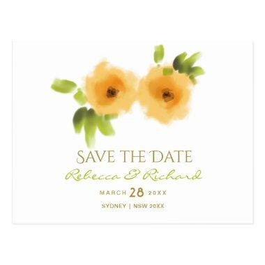 CHEERFUL YELLOW ORANGE WATERCOLOUR Save the date PostInvitations