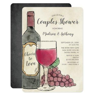Cheers to Love Wine Couples Shower Invitations